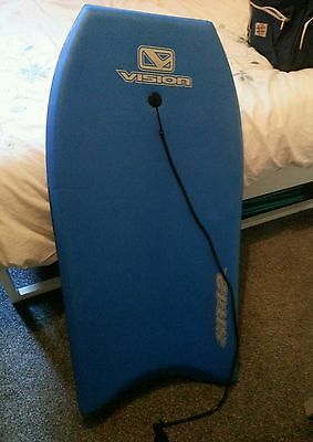 Bodyboard Vision blue fibreglass adult with leash worth £50!