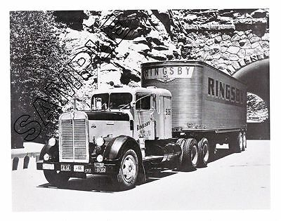 RINGSBY TRUCK LINES 1952 KENWORTH Conventional/Sleeper Box 8x10 B&W GLOSSY PHOTO