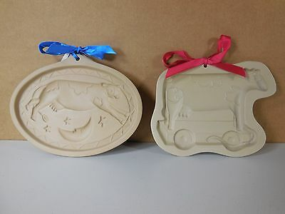 Lot of 2 Brown Bag Cookie Art Molds Cow jumped over the Moon & Toy Cow