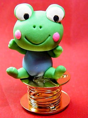 Wobble Crazy Frog Bobble Spring Car Dashboard Polymer Clay Sculpted Novelty