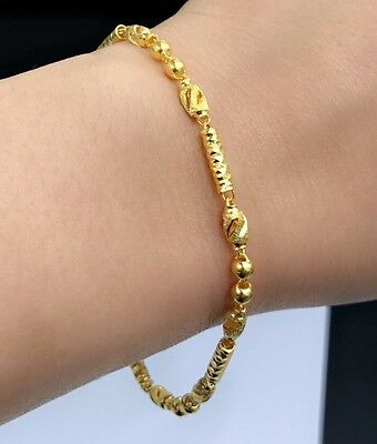 24K Solid Yellow Gold Cute Beaded Shiny Bracelet. 7.25 Inches, 5.14 Grams
