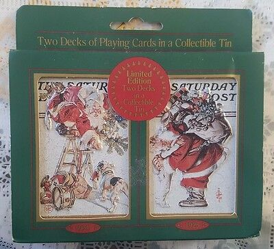 1997 LE Saturday Evening Post SANTA 2 DECKS PLAYING CARDS Christmas TIN Rockwell