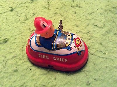 Vintage Japanese Tin Wind Up Toy Fire Chief Dept. F.d. Yone Japan Made #2154