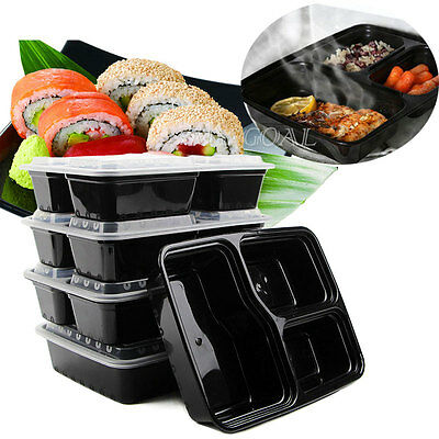 20pcs Microwave Safe Plastic Meal Prep Container Lunch Box Takeaway Food Storage