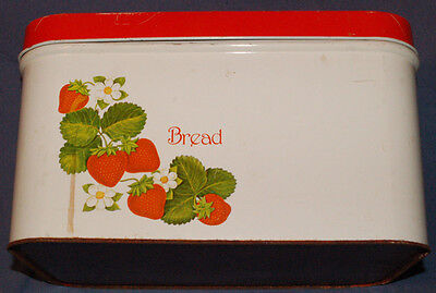 Vintage Metal Bread Box Red and White with Strawberries and Flowers