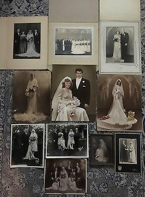 Lot of 11 Vintage/Antique Wedding Photographs 1900's~1950