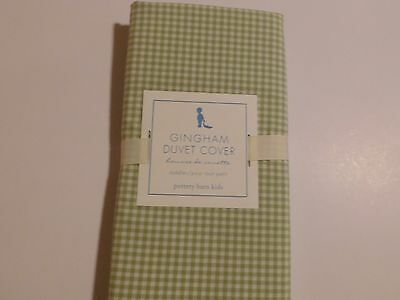 NWT Pottery Barn kids GREEN GINGHAM CRIB / Toddler bed DUVET COVER checked