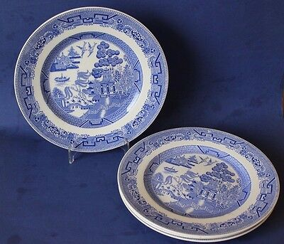 Vintage Minton Blue Willow lunch / dinner Plates x 4.