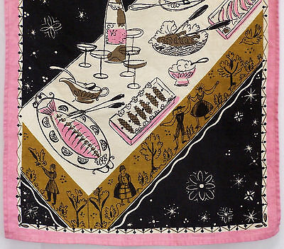 Vintage Mid Century Linen Tea Towel Pink and Brown Food Buffet Serving