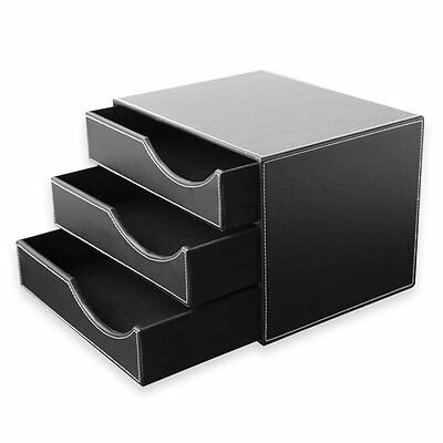 Office Desk PU Leather Wooden Structure 3 Drawer Desk Filing Cabinet Organizer
