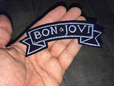 "Bon Jovi  ""classic banner LOGO"" Vintage Unused Fabric Iron-On Patch_Hard Rock"