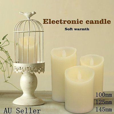 3PCS LED Candles Battery Operated As Wax Flickering Pillar Flameless Unscented