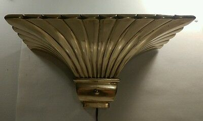 Chapman Art Deco revival solid brass wall sconce light fixture torchiere. 1979.