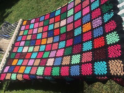 "VTG Granny Squares Crocheted Afghan Multi Color Black RUFFLE 56"" x 74"""