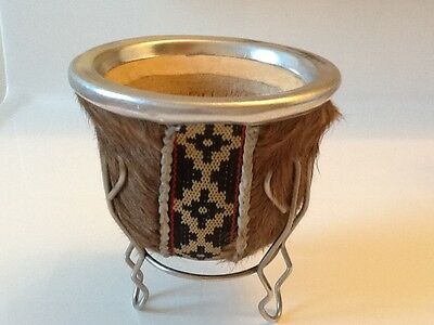 Mate Argentino - Leather-wrapped with cow skin- Handmade regular Obama Style
