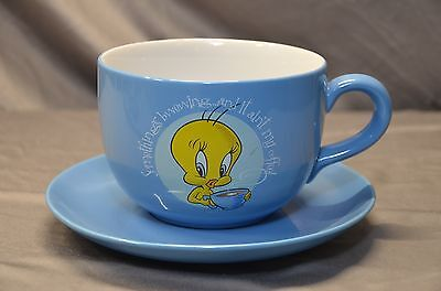 1997  Tweety & Sylvester Blue Ceramic Coffee/Soup Cup & Plate Looney Tunes