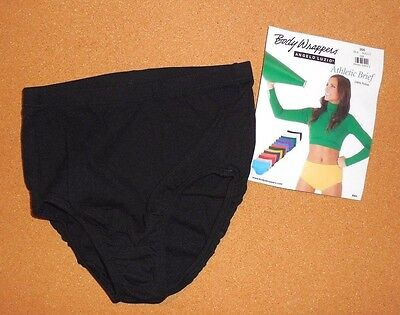 NWT Body Wrappers  BLACK Style 200 Dance Cheer Briefs Athletic Black Nylon
