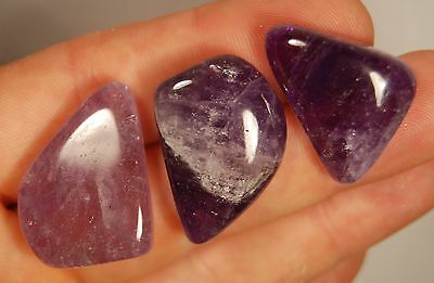 3 AMETHYST TUMBLED STONES 28g Healing Crystals, Stress, Protection, Sobriety
