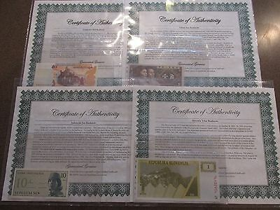 Lot of 11 Different Uncirculated World Currency Notes