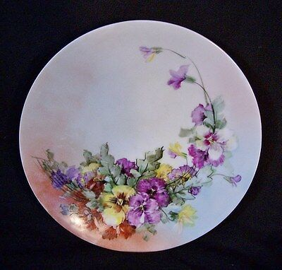Antique Hand Painted Porcelain Cake Plate SILESIA Germany Violets Flowers 9 3/8""