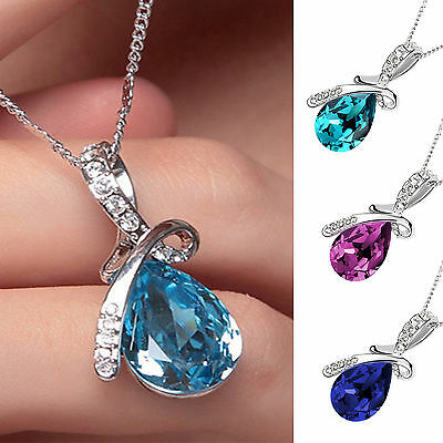 Women Silver Chain Crystal Rhinestone Pendant Necklace Jewelry Gift + 3 Colours