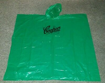 Rare Collectable Coopers Beer Plastic Rain Poncho With Hood Brand New Never Used