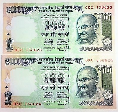 2014  India 100 Rupees Notes (2) UNC Consecutive Serial