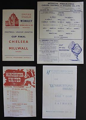 1945 War Cup Final Programmes Chelsea Millwall Manchester United Bolton