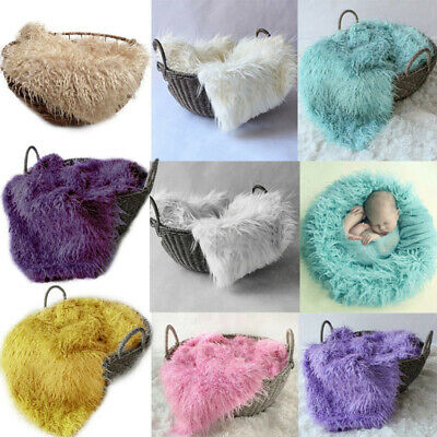 50*80cm Baby Cute Faux Fur Blanket Photography Swaddling for Basket Stuffer Prop