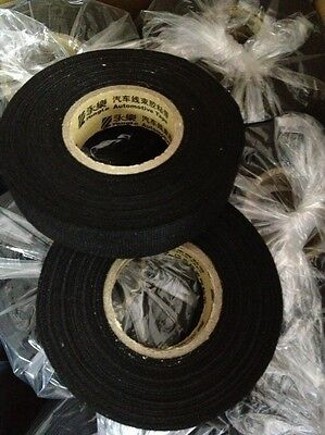 10pcs Car Adhesive Cloth Fabric Wiring Harness Loom Tape Cable Roll 19mm*25M