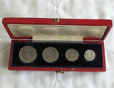 1907 EDWARD VII SILVER 4 COIN MAUNDY SET - boxed