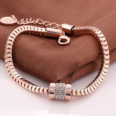 Women Fashion 18K Rose Gold Plated Crystal Bracelet Bangle Trendy Jewelry Gift B