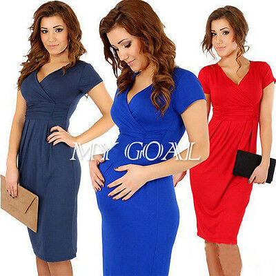 Women Pregnant Maternity V-Neck Stretchy Short Sleeve Cotton Dress Plus Size8-12