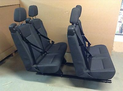 Transit Removable Twin Double Seats - Built In Belts, Armrests, Rails & Recline