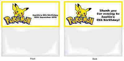 POKEMON Personalised Birthday Party/Loot Favour Bags & Toppers x 15