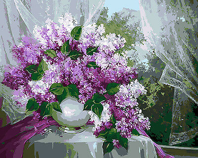 DIY Paint By Numbers 16*20 inches kit Oil Painting Lavender On Canvas 1005