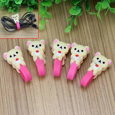5Pcs Two Bear Design Earphone Charger Cable Cord Winder Organizer Snap Fastener