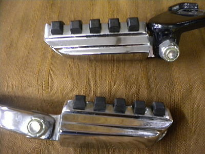 Harley Davidson Passenger Foot Pegs Rest Genuine Chrome Rubber Pair Excellent
