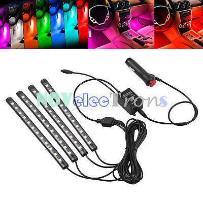 4*12LED Wireless IR Music Car Interior RGB Strip Light Color Atmosphere Footwell