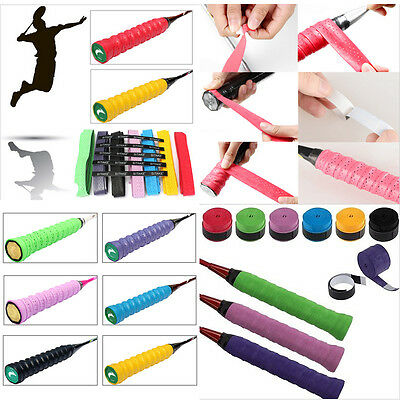 10 Anti-slip Tape Overgrip Absorb Sweat Stretchy Tennis Squash Racquet Band Grip