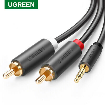 UGREEN 3.5mm Male to 2RCA Male Aux Audio Cable Gold Plated Twin Phono L R Plug