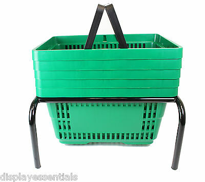 Green Plastic Shopping Baskets Pack of 5 with Black Metal Stacker