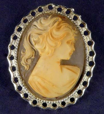 Vintage Cameo Brooch Pin Silver Toned Unsigned Silhouette of Beautiful Woman