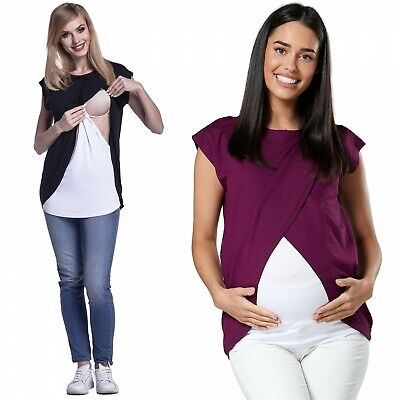 Happy Mama. Women's Maternity Nursing Wrap Top Cap Sleeves. Double Layer. 448p