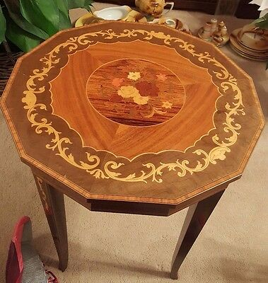 Antique Inlaid Wooden Music Box Table Swiss Movement Reuge