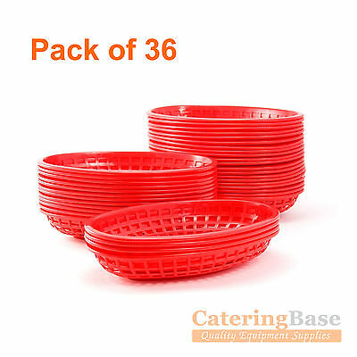 36 Classic Oval Fast Food Baskets Red Chicken burger Hot Dog Hotdog Fries Chips