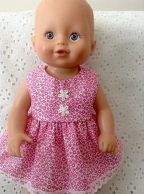 "Dolls Clothes handmade ~ fits13"" Little Baby Born~ Hot Pink & white floral Dress"