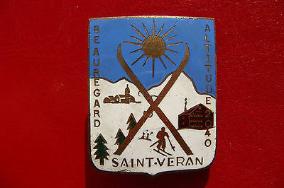 OLD FRANCE SKI - Montagne ENAMEL BADGE OLD SAINT-VERAN BY A.Augis LYON