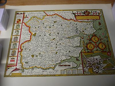 Old Antique County map of Essex, by John Speed 1610 rolled, 51  X 64cm , repro