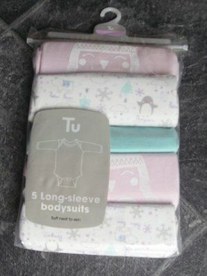 Ex store 0-3 months long sleeve bodysuits vests 5 pack BNWT